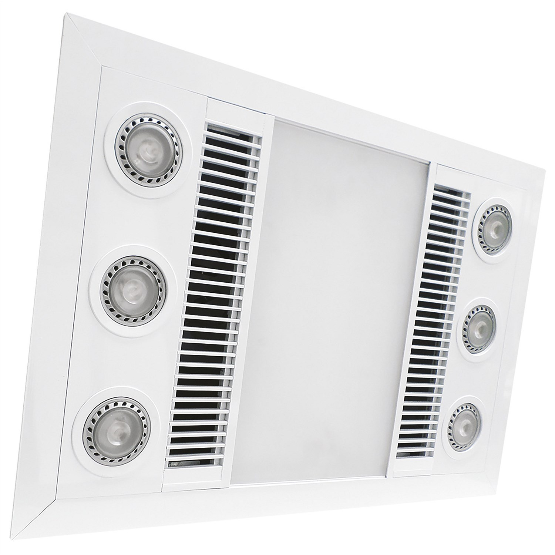 Extraction Fans - Manrose Designer Bathroom Heating fan and LED light