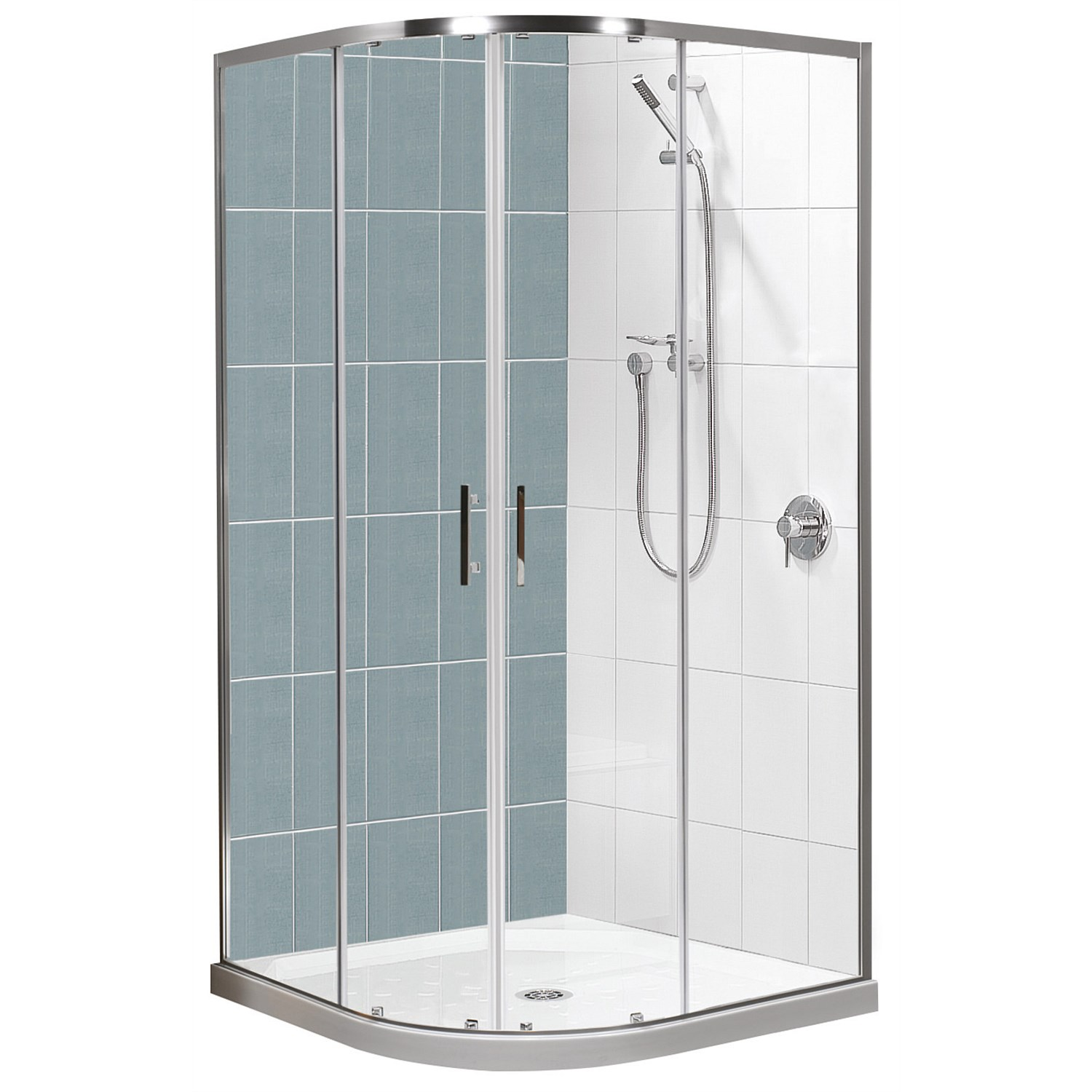 Showers | Plumbing World - Clearlite Cezanne 900mm Round Tile Shower