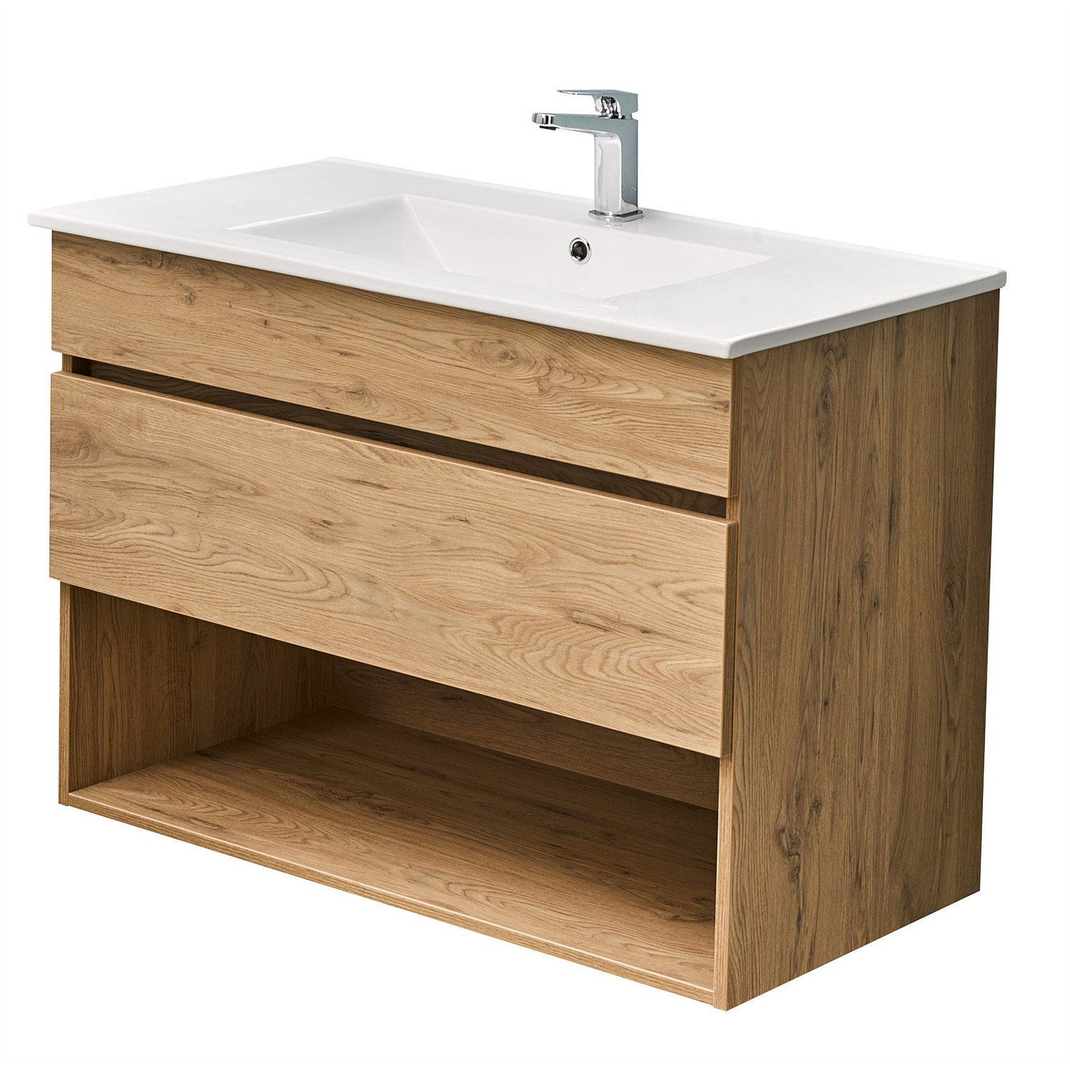 Wall Hung Clearlite Pinnacle 900mm Drawer Open Vanity