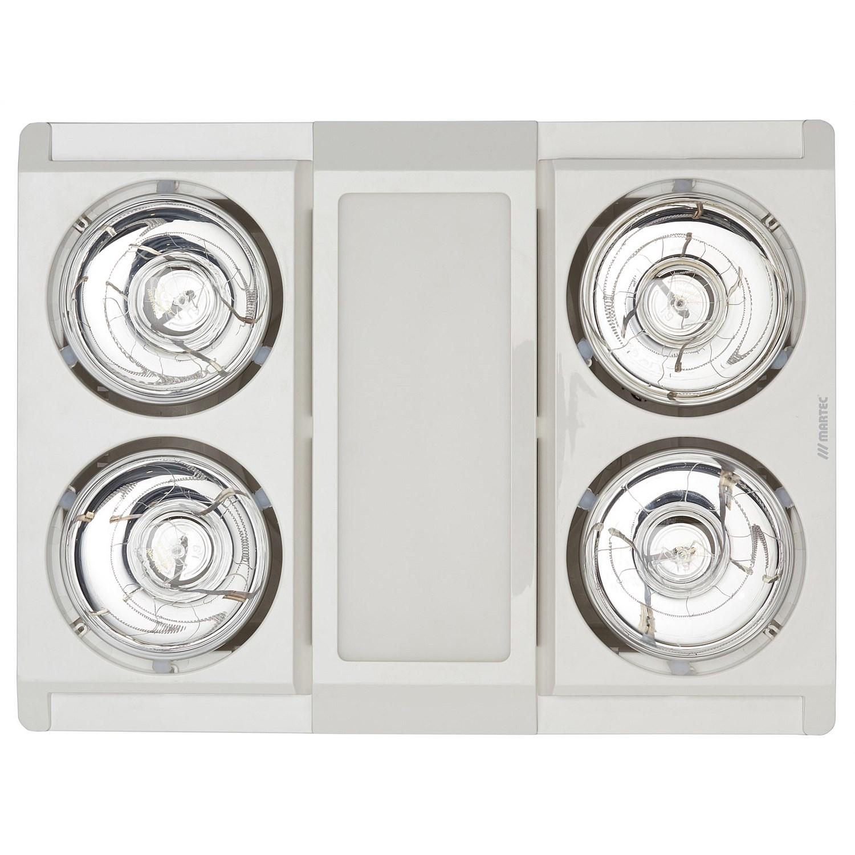 Martec Profile Panel 4 Heat 3 In 1 Bathroom Heater Exhaust Fan Light White