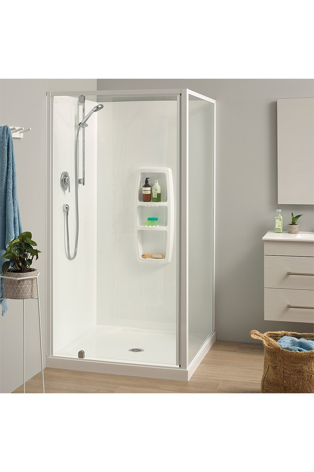 Acrylic Clearlite Sierra 1000mm 2 Sided Square Shower