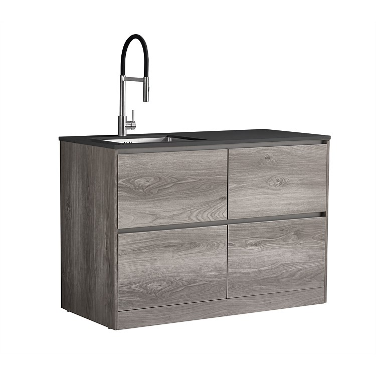 LeVivi Laundry Station 1300mm LH Sink 4 Drawers Charcoal Top Elm Cabinet