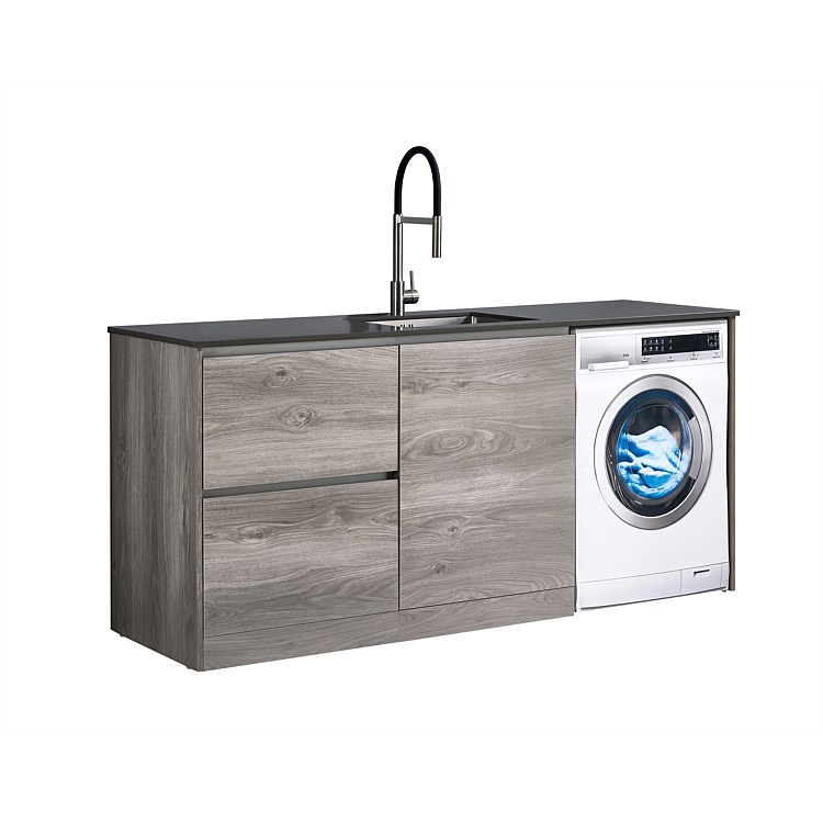 LeVivi Laundry Station 1930mm LH Drawers with Centre Door Charcoal Top Elm Cabinet