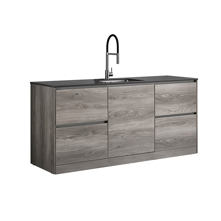 LeVivi Laundry Station 1930mm LH & RH Drawers with Centre Door Charcoal Top Elm Cabinet