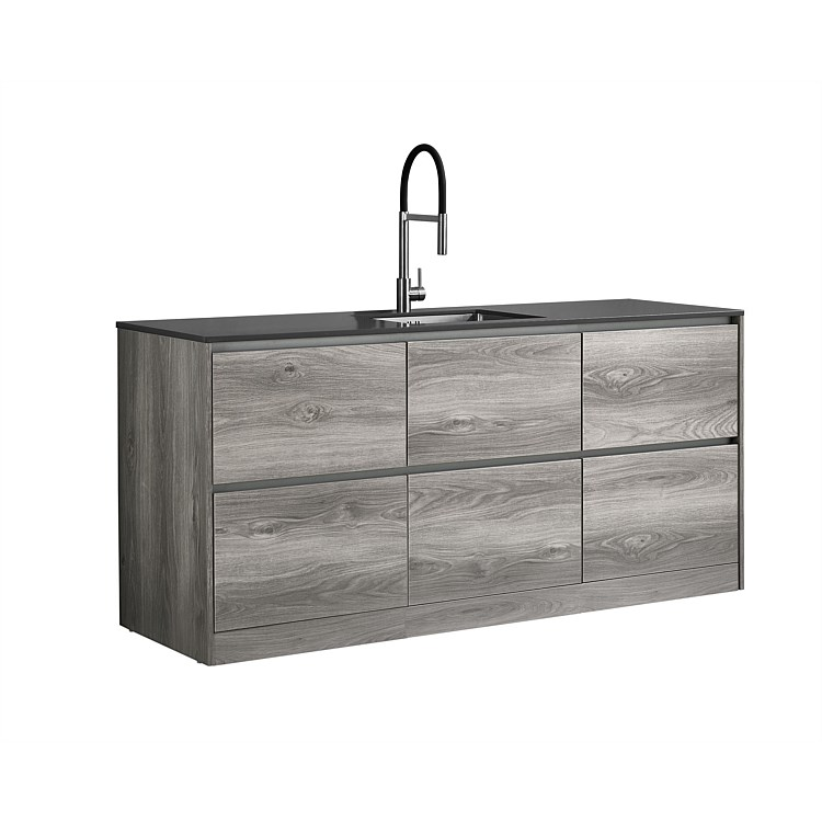 LeVivi Laundry Station 1930mm 6 Drawers Charcoal Top Elm Cabinet