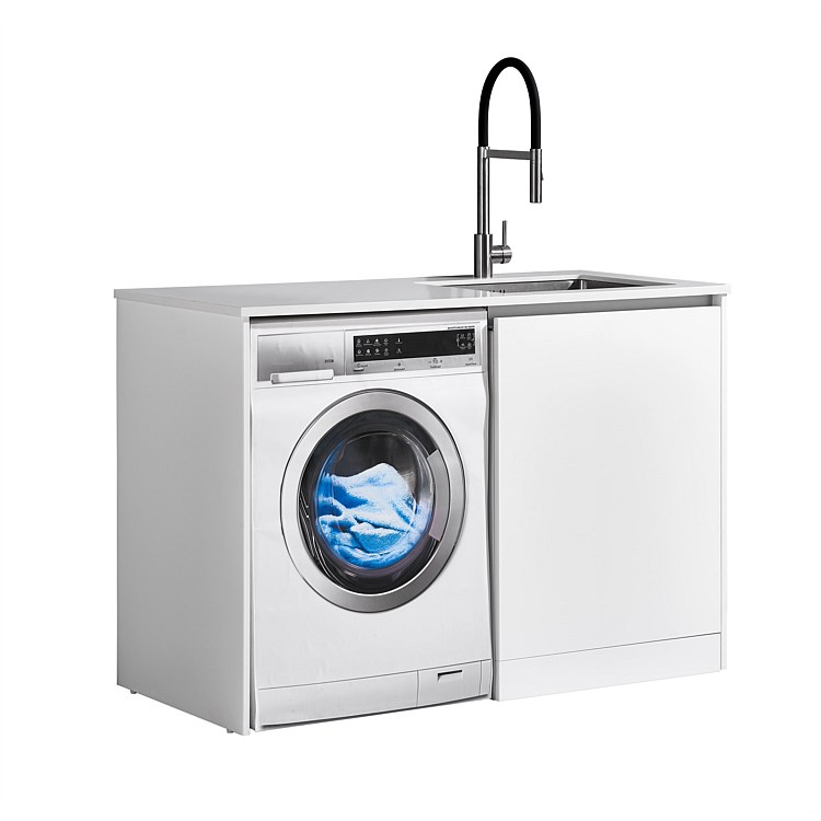LeVivi Laundry Station 1300mm RH Door White Top White Cabinet