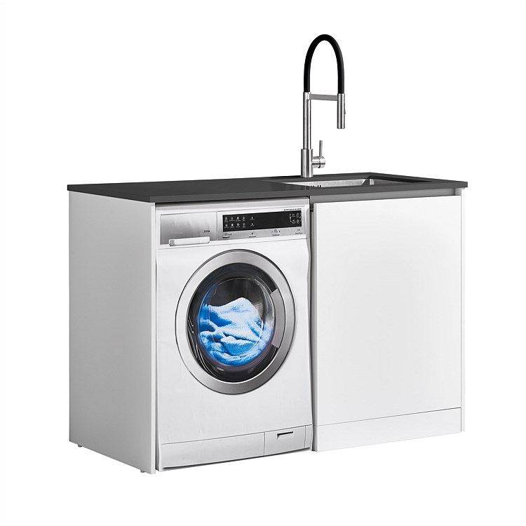 LeVivi Laundry Station 1300mm RH Door Charcoal Top White Cabinet
