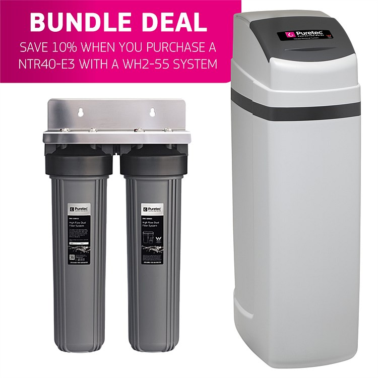 Puretec WH2 Series Whole House Dual Water Filter & NTR40-E3 Nitrate Removal System Bundle