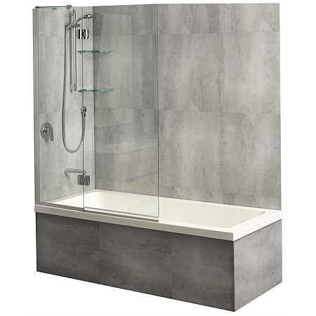 Clearlite Varo 1675mm Shower Over Bath and Platinum Swing Panel