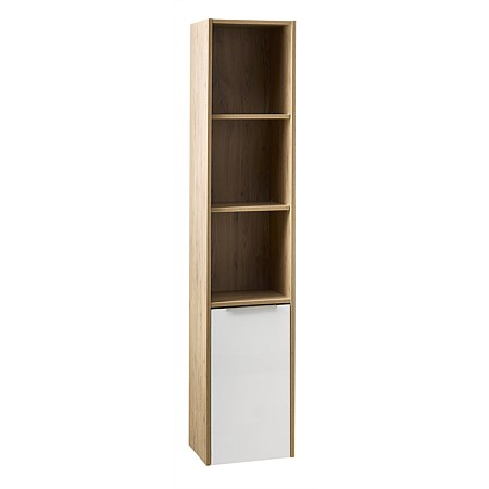 Clearlite Nikau Storage Tower Ultra Gloss White & French Oak