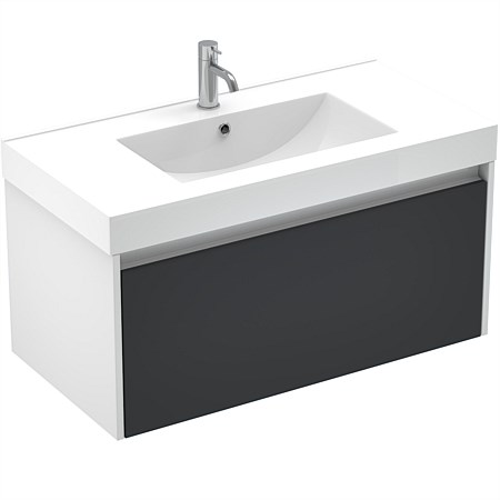 LeVivi Capri 900mm Wall-Hung Vanity White Black