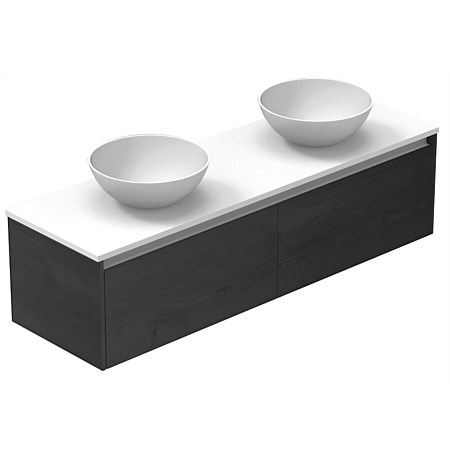 LeVivi Capri 1500mm Solid Surface Wall-Hung Vanity with Round Vessel Basins