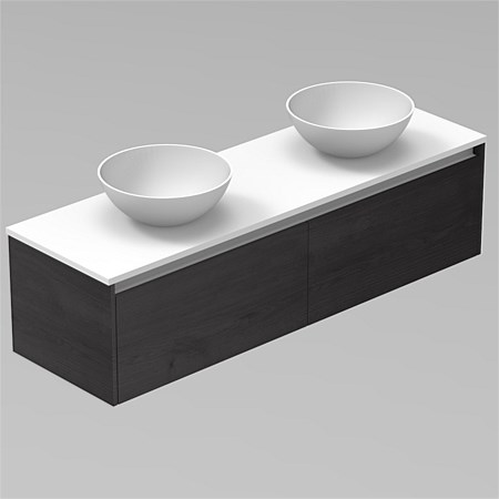 LeVivi Capri 1800mm Solid Surface Wall-Hung Vanity with Round Vessel Basins
