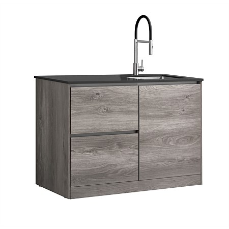 LeVivi Laundry Station 1300mm RH Door LH Drawers Charcoal Top Elm Cabinet