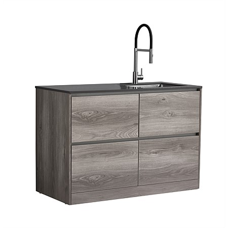 LeVivi Laundry Station 1300mm RH Sink 4 Drawers Charcoal Top Elm Cabinet