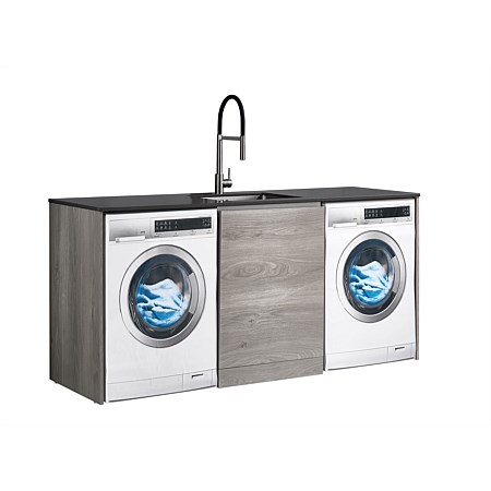 LeVivi Laundry Station 1930mm Centre Door Only Charcoal Top Elm Cabinet