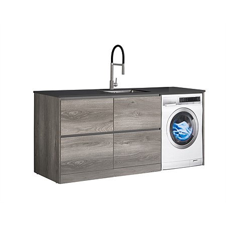 LeVivi Laundry Station 1930mm LH 4 Drawers Charcoal Top Elm Cabinet