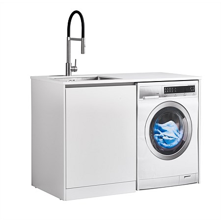 LeVivi Laundry Station 1300mm LH Door White Top White Cabinet