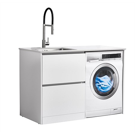 LeVivi Laundry Station 1300mm LH Drawers White Top White Cabinet