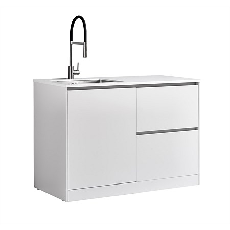 LeVivi Laundry Station 1300mm LH Door RH Drawers White Top White Cabinet