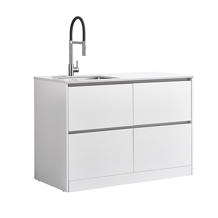 LeVivi Laundry Station 1300mm LH Sink 4 Drawers White Top White Cabinet