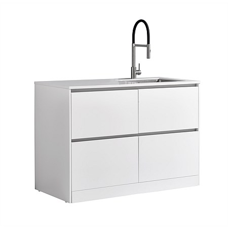 LeVivi Laundry Station 1300mm RH Sink 4 Drawers White Top White Cabinet