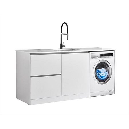 LeVivi Laundry Station 1930mm LH Drawers with Centre Door White Top White Cabinet