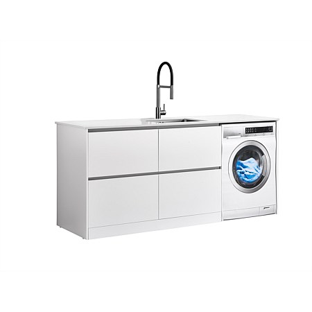 LeVivi Laundry Station 1930mm LH 4 Drawers White Top White Cabinet