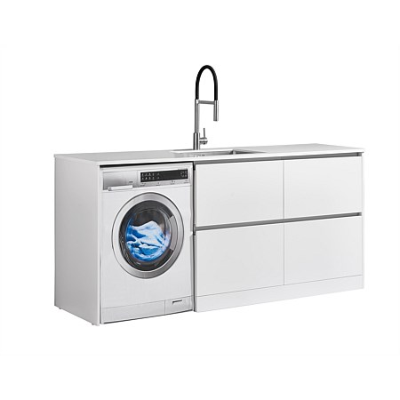 LeVivi Laundry Station 1930mm RH 4 Drawers White Top White Cabinet