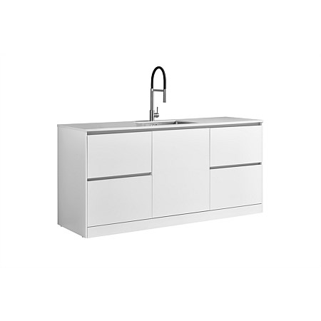 LeVivi Laundry Station 1930mm LH & RH Drawers with Centre Door White Top White Cabinet