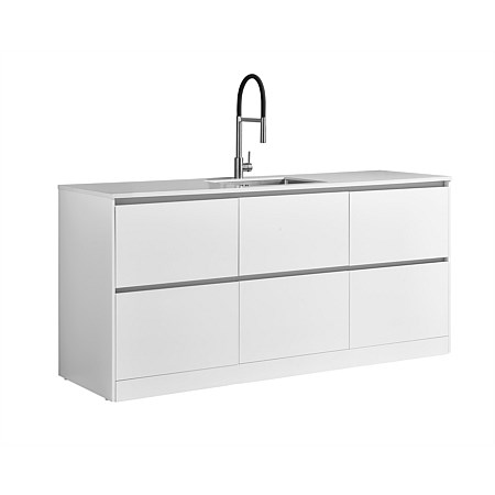 LeVivi Laundry Station 1930mm 6 Drawers White Top White Cabinet
