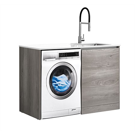 LeVivi Laundry Station 1300mm RH Door White Top Elm Cabinet