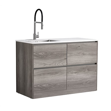 LeVivi Laundry Station 1300mm LH Sink 4 Drawers White Top Elm Cabinet