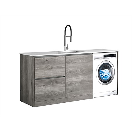 LeVivi Laundry Station 1930mm LH Drawers with Centre Door White Top Elm Cabinet