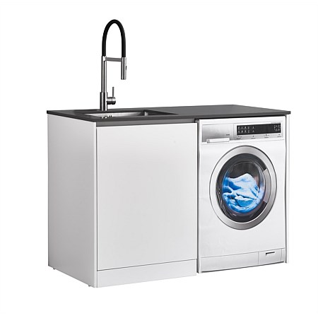 LeVivi Laundry Station 1300mm LH Door Charcoal Top White Cabinet