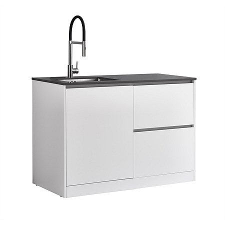 LeVivi Laundry Station 1300mm LH Door RH Drawers Charcoal Top White Cabinet