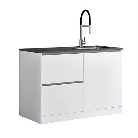 LeVivi Laundry Station 1300mm RH Door LH Drawers Charcoal Top White Cabinet