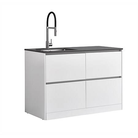 LeVivi Laundry Station 1300mm LH Sink 4 Drawers Charcoal Top White Cabinet