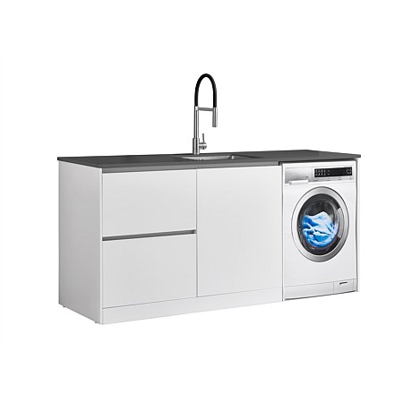 LeVivi Laundry Station 1930mm LH Drawers with Centre Door Charcoal Top White Cabinet