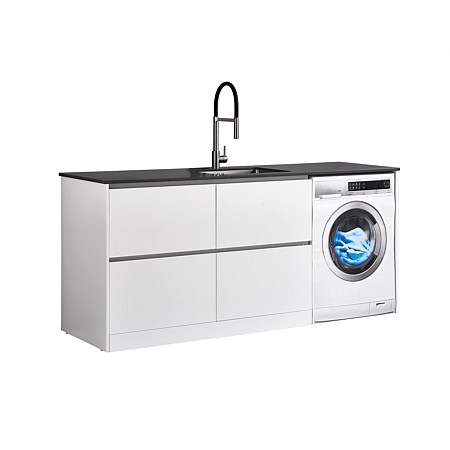 LeVivi Laundry Station 1930mm LH 4 Drawers Charcoal Top White Cabinet