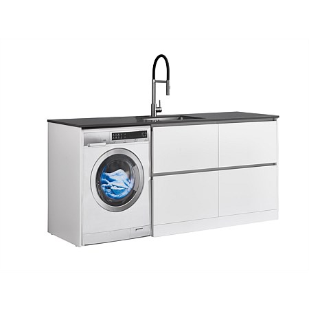 LeVivi Laundry Station 1930mm RH 4 Drawers Charcoal Top White Cabinet