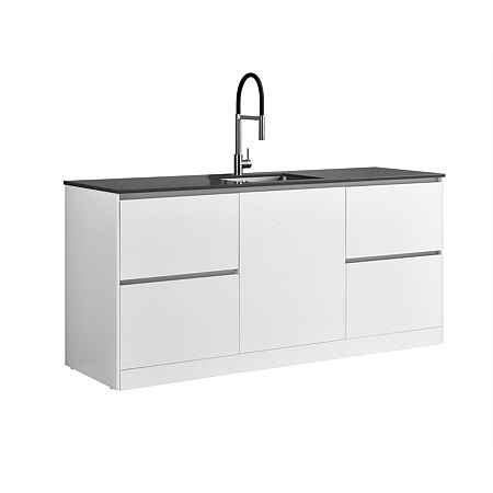 LeVivi Laundry Station 1930mm LH & RH Drawers with Centre Door Charcoal Top White Cabinet
