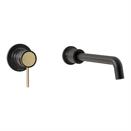 Tate Wall Mounted Basin/Bath Mixer Matte Black/Brushed Gold