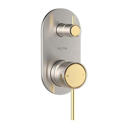 Tate Diverter Mixer Brushed Nickel/Brushed Gold
