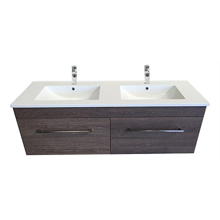 Clearlite Cashmere 1500mm Double Bowl 4 Drawer Vanity