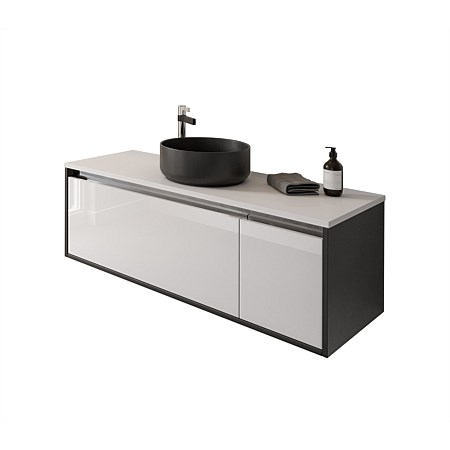 St Michel City Cherry Pie 1200mm Wall-Hung Vanity White Gloss and Black Velvet with Ella Basin