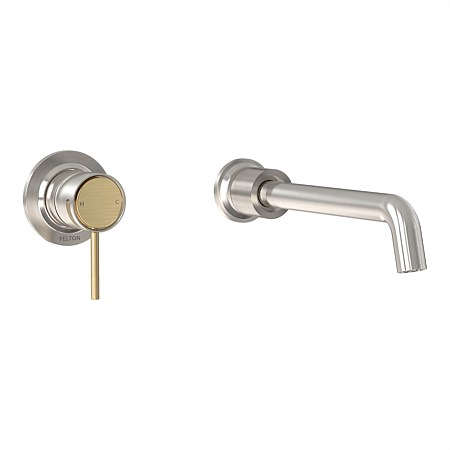 Felton Tate Wall Mounted Basin/Bath Mixer Brushed Nickel/Brushed Gold
