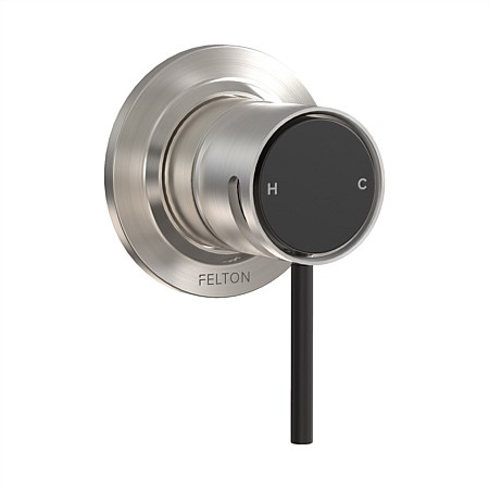 Felton Tate Shower Mixer Brushed Nickel/Matte Black