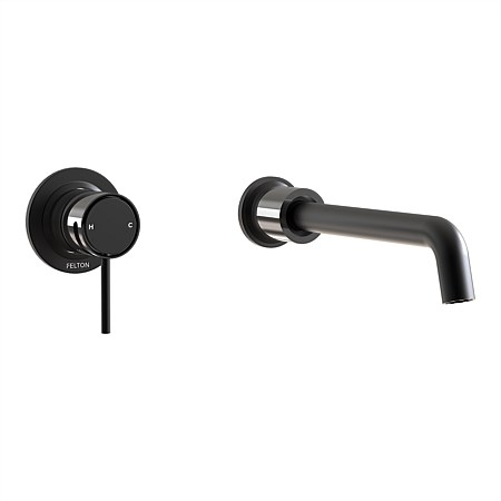 Felton Tate Wall Mounted Basin/Bath Mixer Matte Black/Gloss Black