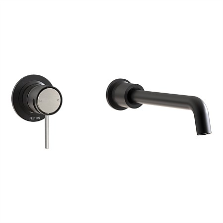 Felton Tate Wall Mounted Basin/Bath Mixer Matte Black/Brushed Nickel